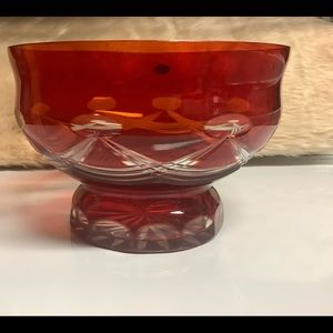 Russian Hand Made Crystal Bowl RED Cut Glass